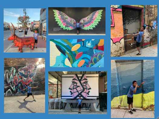 collage of photos of a bly standing next to differnt blue murals