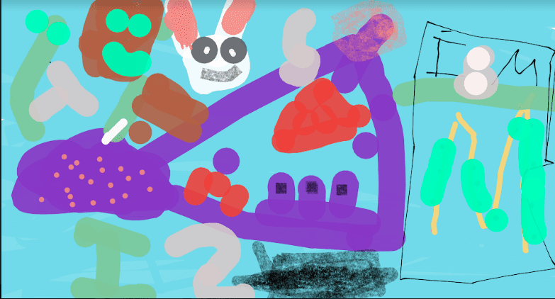 a digital drawing that shows many colored lines and shapes and two faces that may be animals