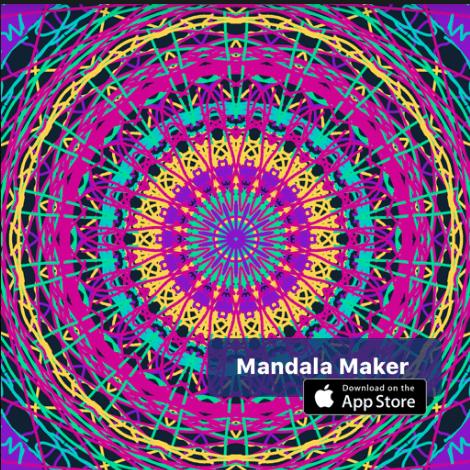 digital mandala drawing that shows many colored lines forming a circle design