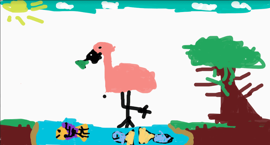 digital drawing of a flamingo, a tree, and fish swimming in a pond