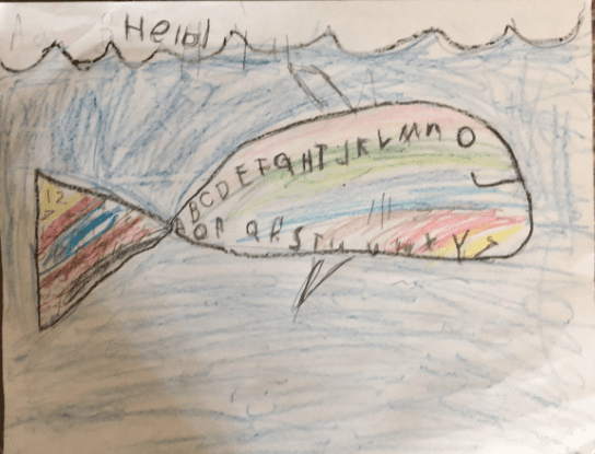colorful fish drawing with the alphabet in its body