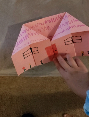 pink origami house