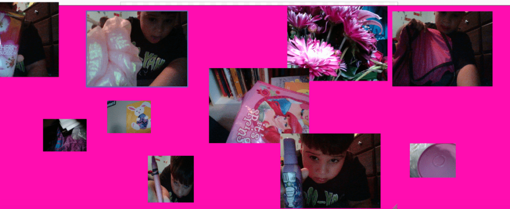 digital collage showing pink objects and a pink background