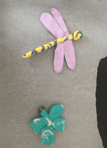 clay dragon fly and butterfly
