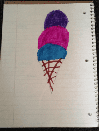 drawing of an icecream cone with three different colored scoops