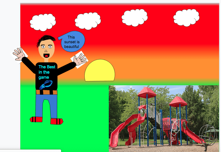 digital drawing of a boy a picture of a playground in front of a sunset