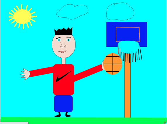digital drawing of a person shooting a basketball into a hoop