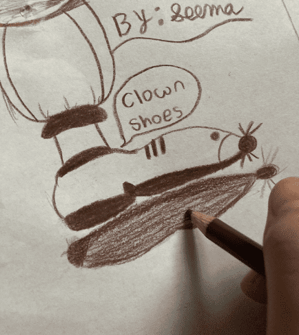 drawing of a foot that says clown shoes