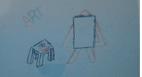 """a drawing that says """"art"""" and shows an easel and table"""
