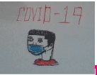"""a drawing that says """"covid-19"""" with a person wearing a face mask"""