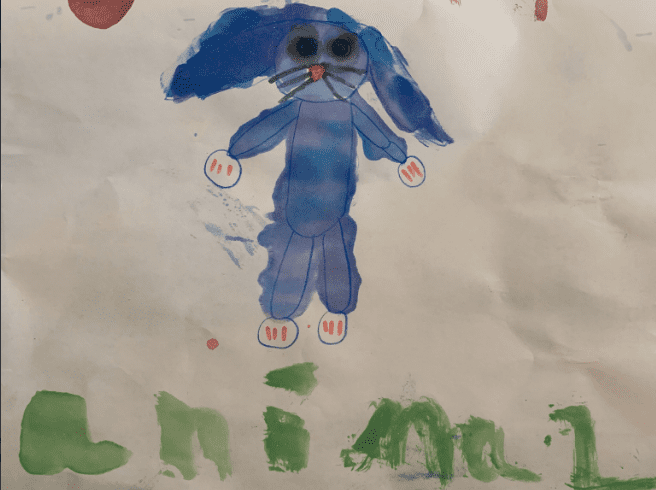 painting of a blue rabbit