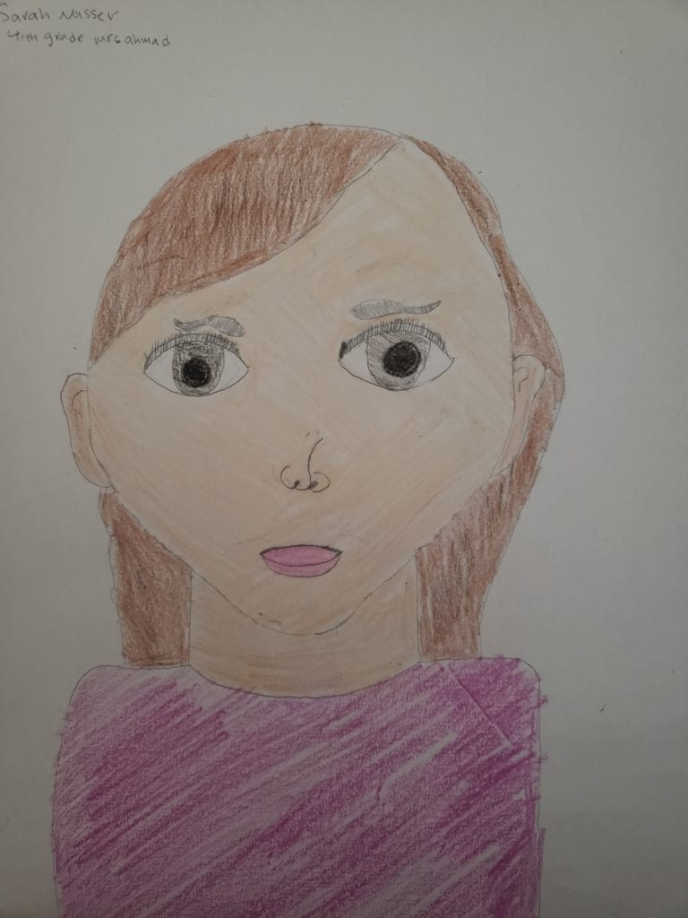 a drwing of a girl with light brown hair and a pink shirt