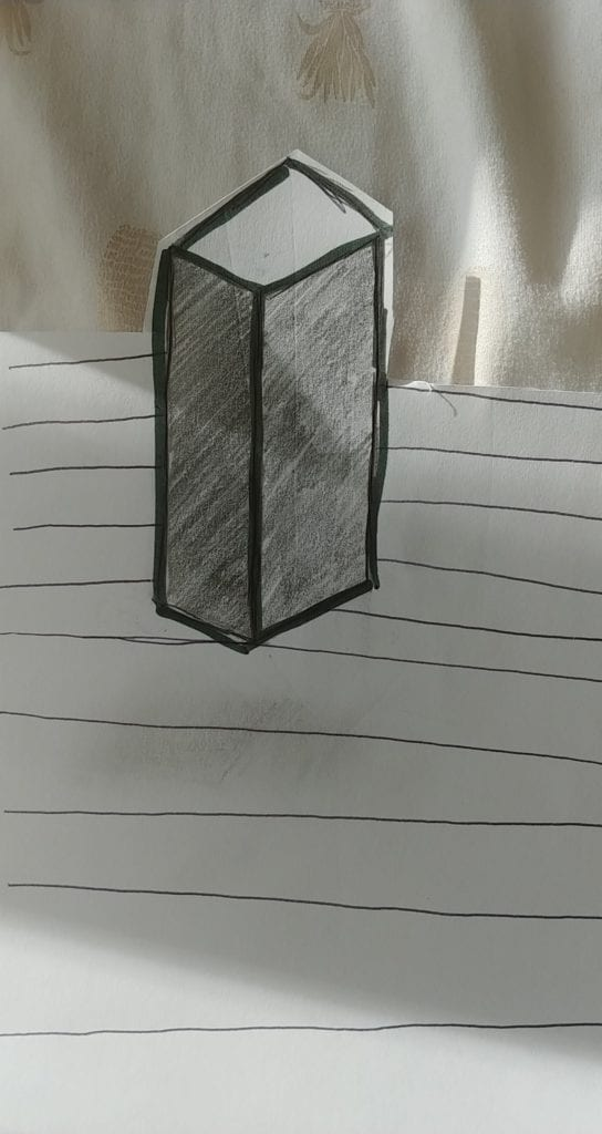 drawing of a 3 d rectanuular prisim with shading on the sides of it