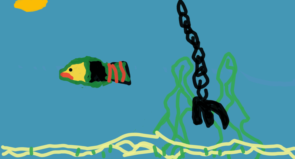 digital drawing of a fish and a hook