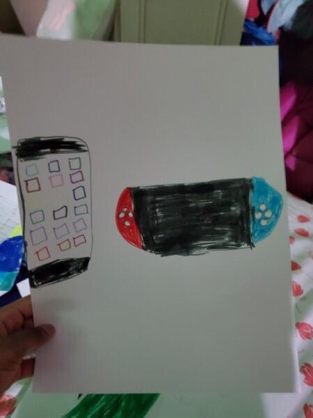 drawing of a nintendo switch and a phone with colorful apps
