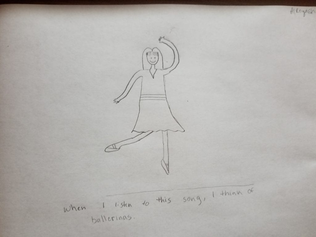 drawing of a person dancing with one leg up and one arm over their head
