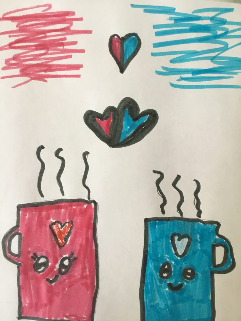 pink and blue coffee mugs with pink and blue hearts above them