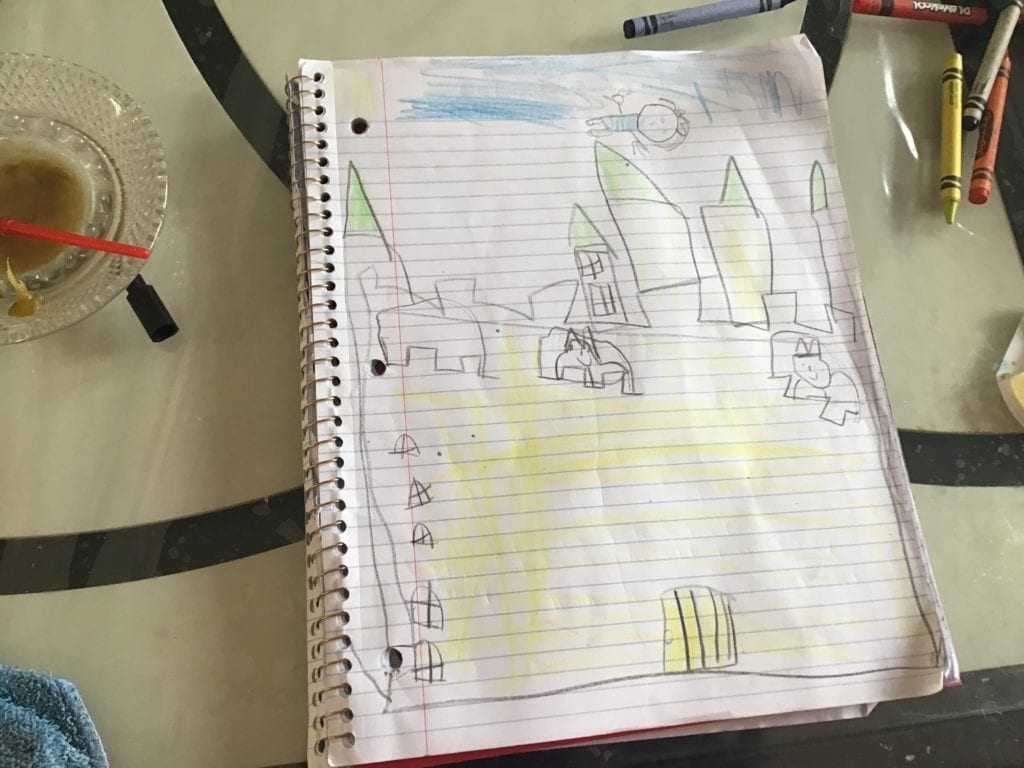 drawing of a yellow castle