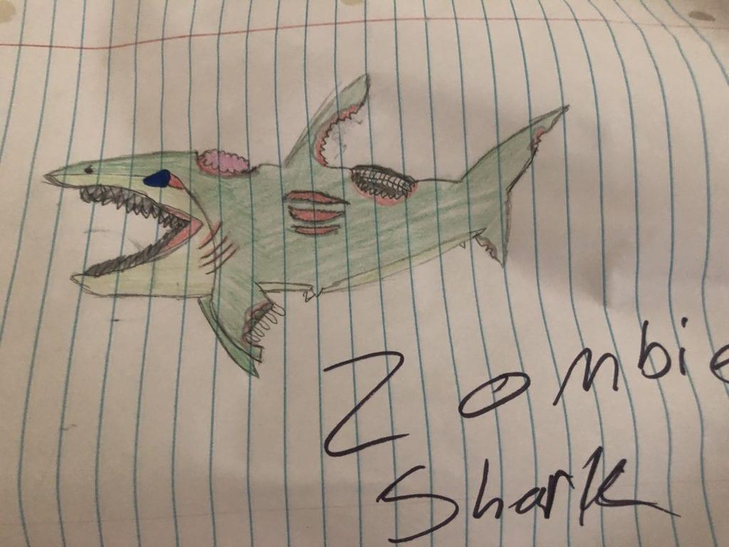 zombie shark drawing