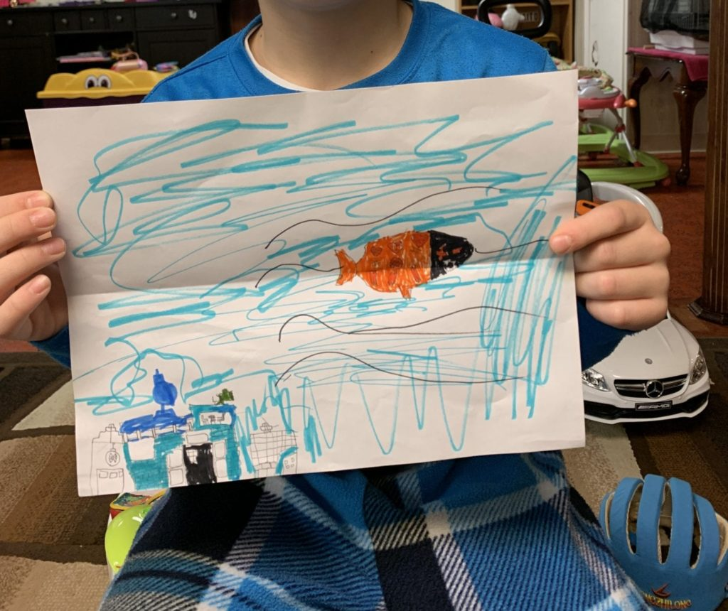 drawing of a fish swimming in the water