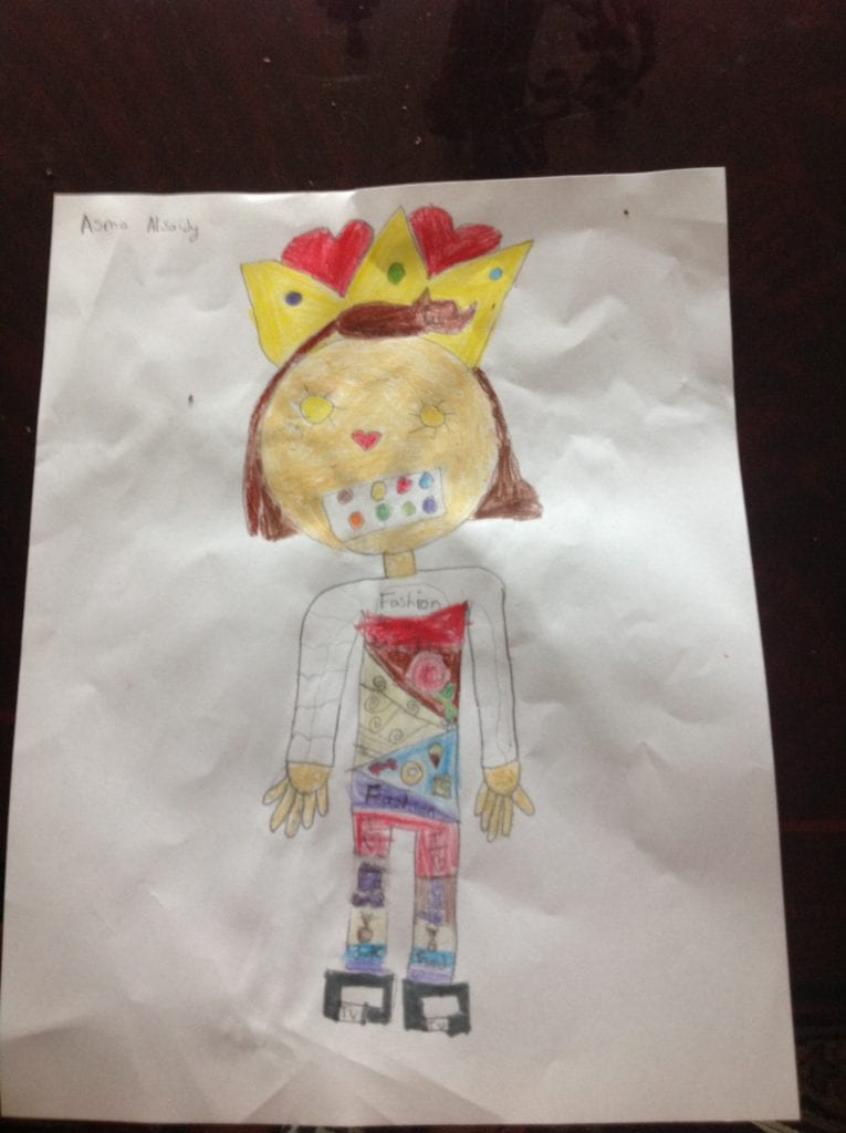 drawing of a girl with a crown, a paint pallett for a mouth, suns for eyes, and colorful details on her clothes