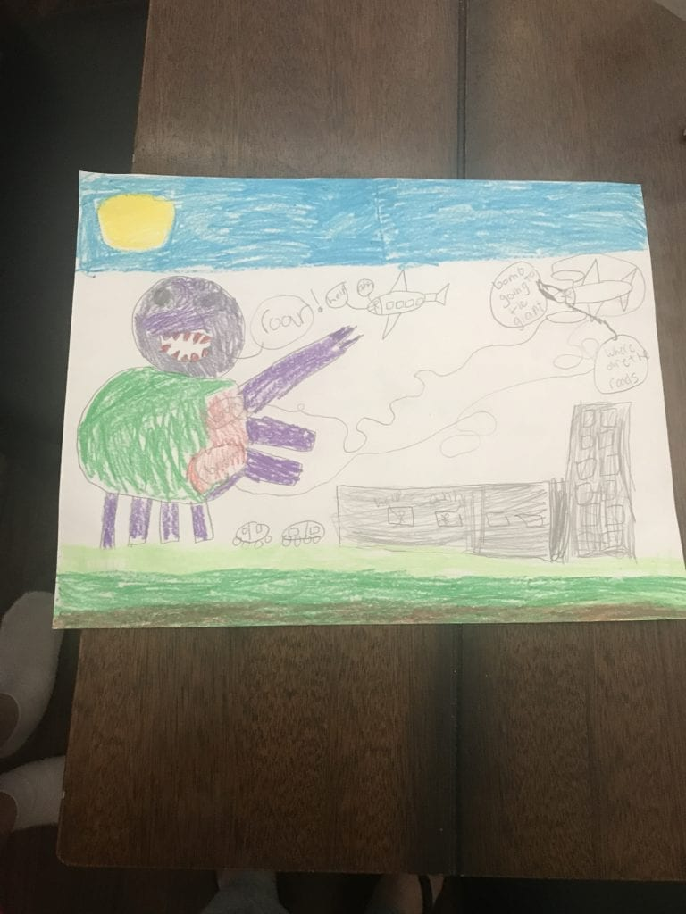 drawing of a large monster standing over buildings and an airplane in the sky