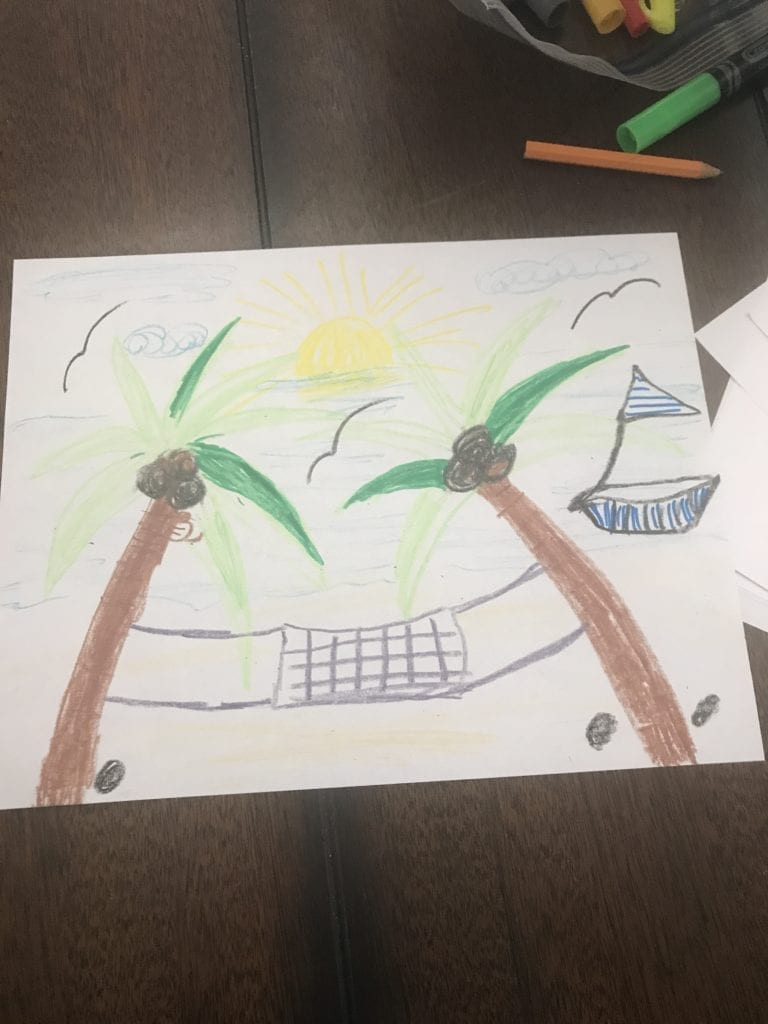 drawing of a hammock between two palm trees with a boat in the distance