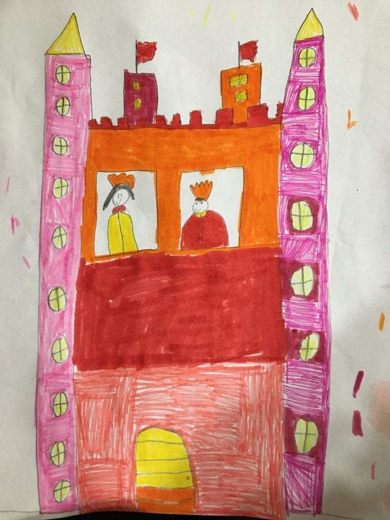 castle drawing colored with warm colors, orange, yellow, red, and pink