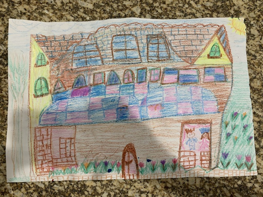 drawing of a colorful house