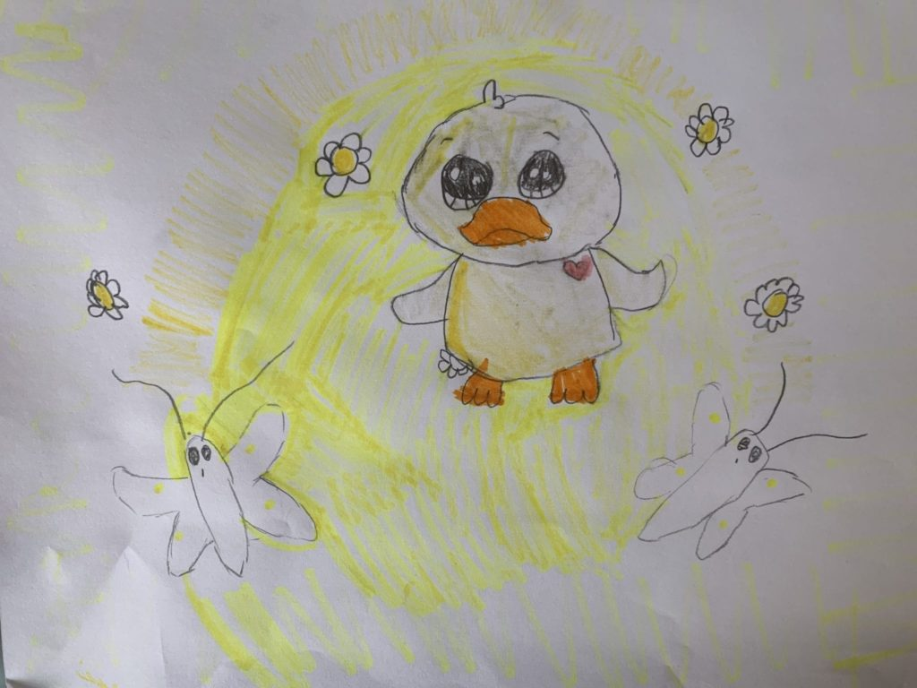 a drawing of a baby duck, two butterflies, and four flowers colored all yellow