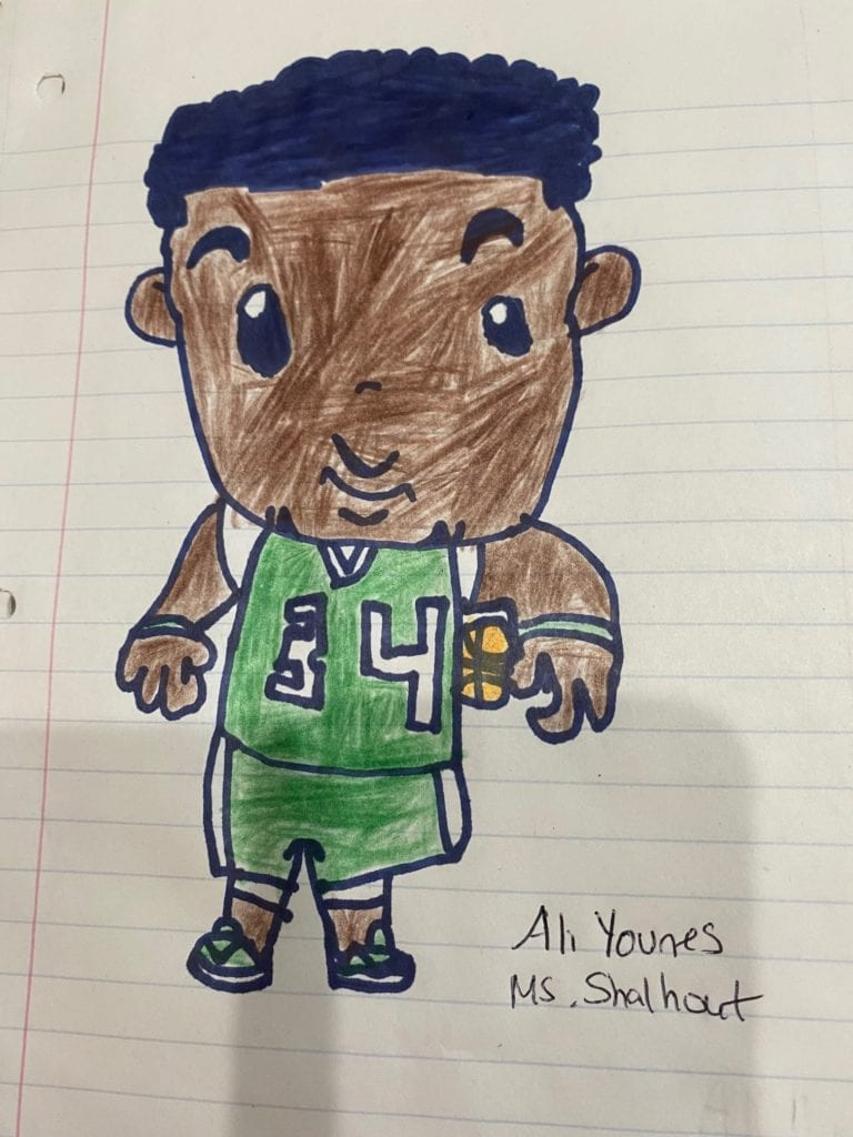 drawing of a basketball player wearing a green uniform