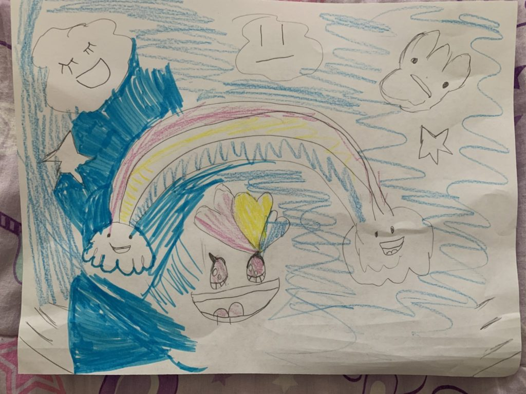 drawing of a rainbow surrounded by clouds with faces