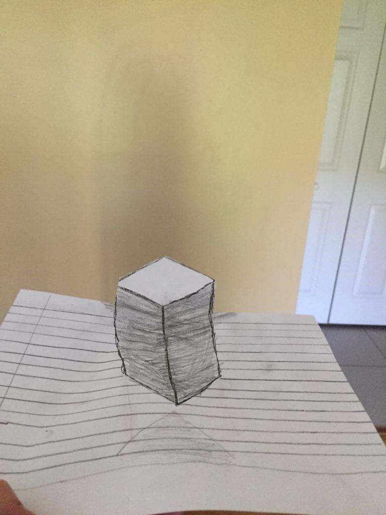 pencil drawing of a rectangular prisim