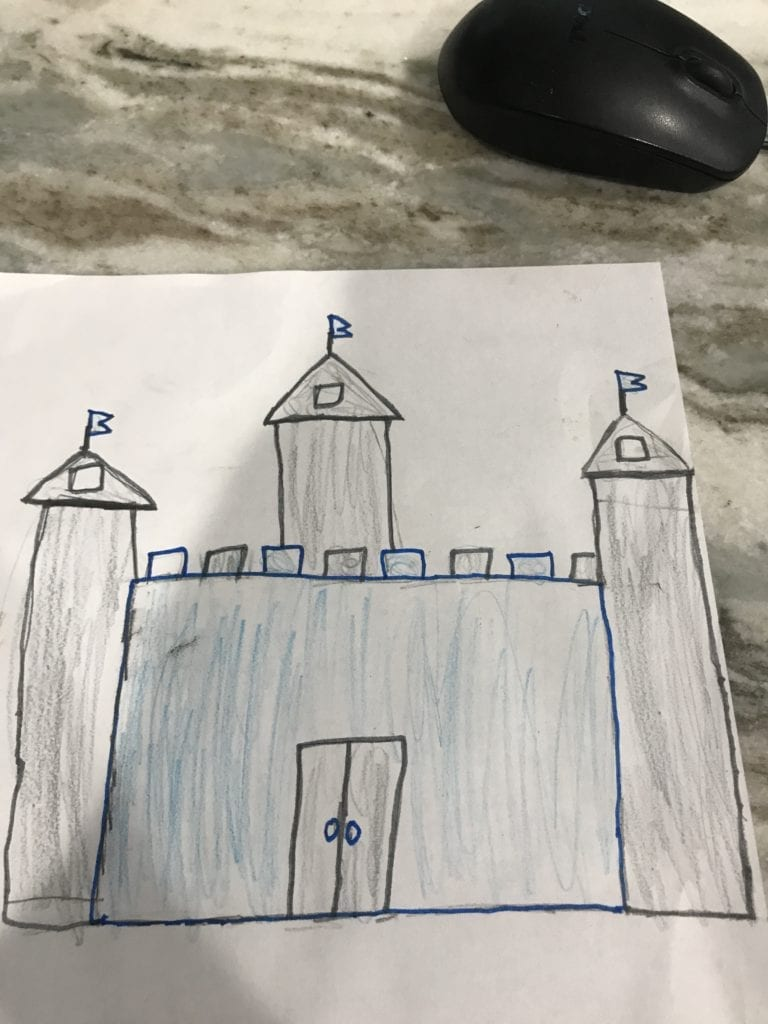 blue and gray castle drawing