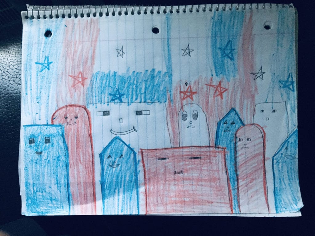 drawing of a city with red, white, and blue, buildings with faces