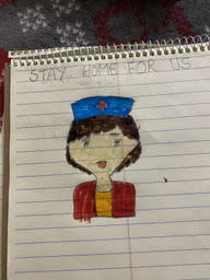 """drawing of a female nurse with the phrase """"stay home for us"""""""