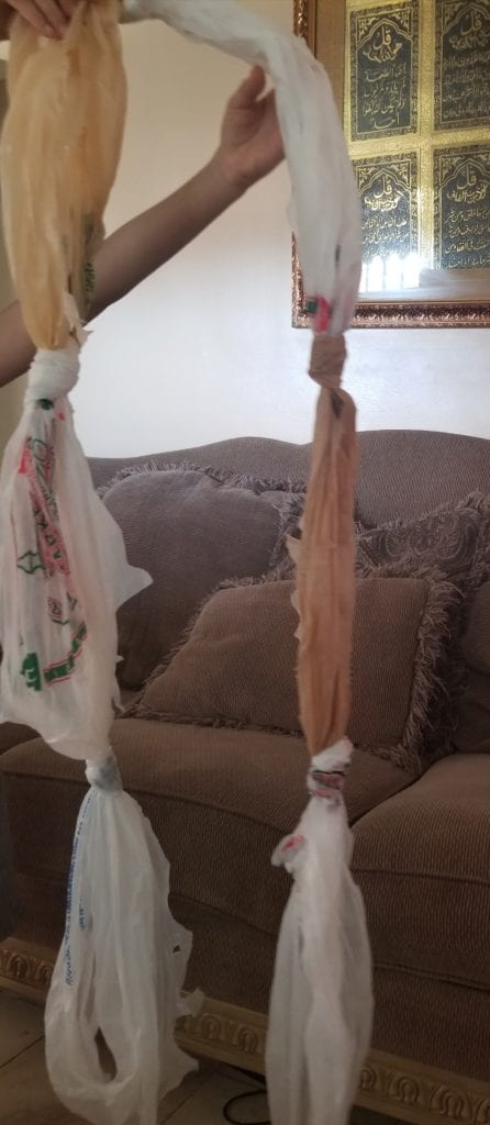 jump rope made from plastic bags