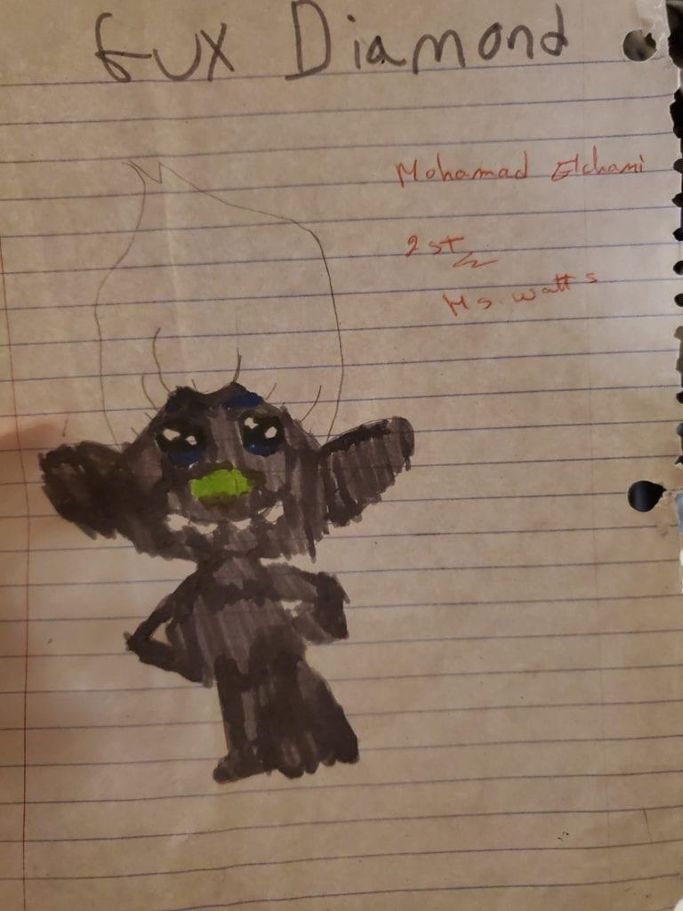 "drawing of a troll that says ""Gux Diamond"""
