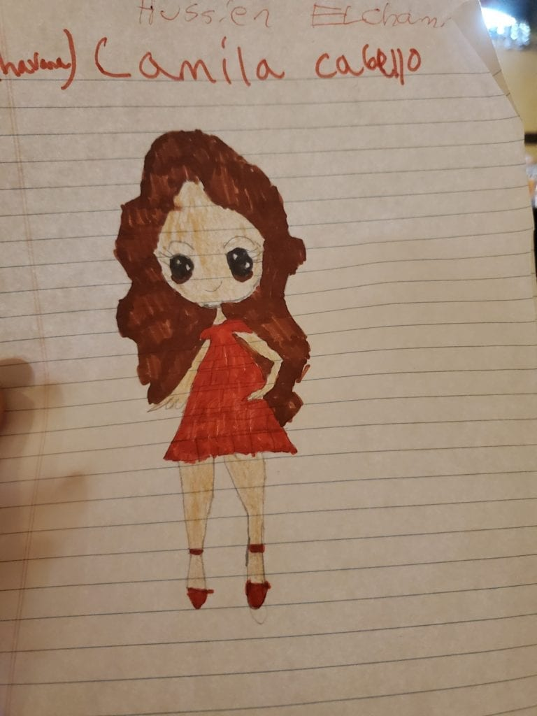 drawing of a girl with brown hair wearing a red dress