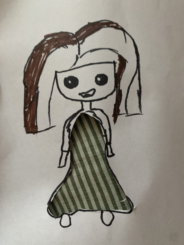 drawing of a girl wearing a dress