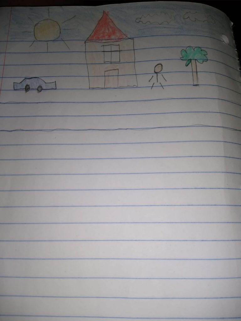 drawing of a housw, car, tree, and person