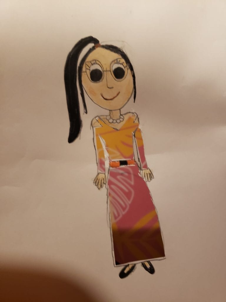 drawing of a girl wearing a shirt and skirt
