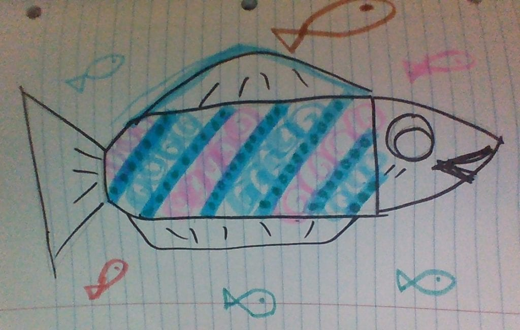 drawing of a fish with a pattern in its body