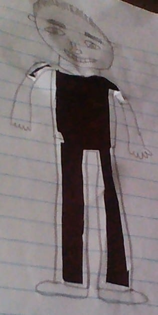drawing of a person with his clothes cut out so that they look black like what is behind the paper