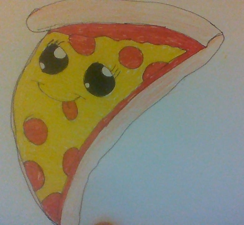 drawing of a piee of pizza with a face