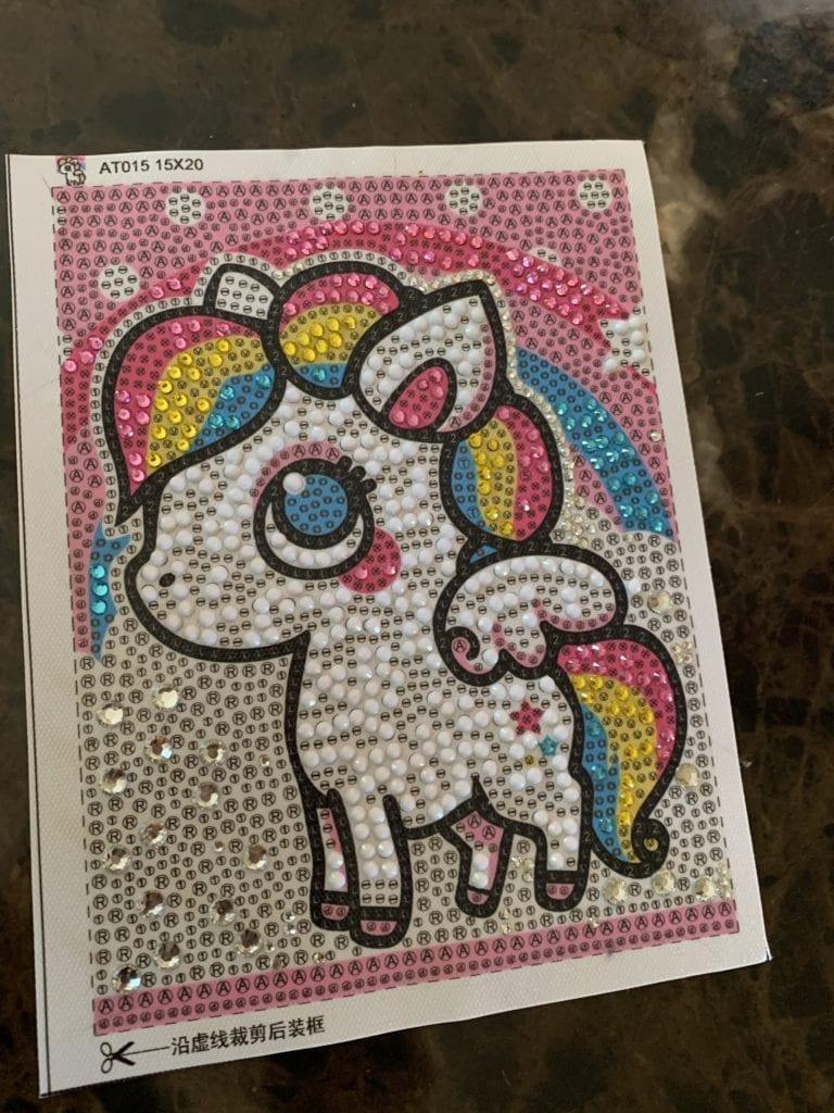 unicorn picture with rhinestones