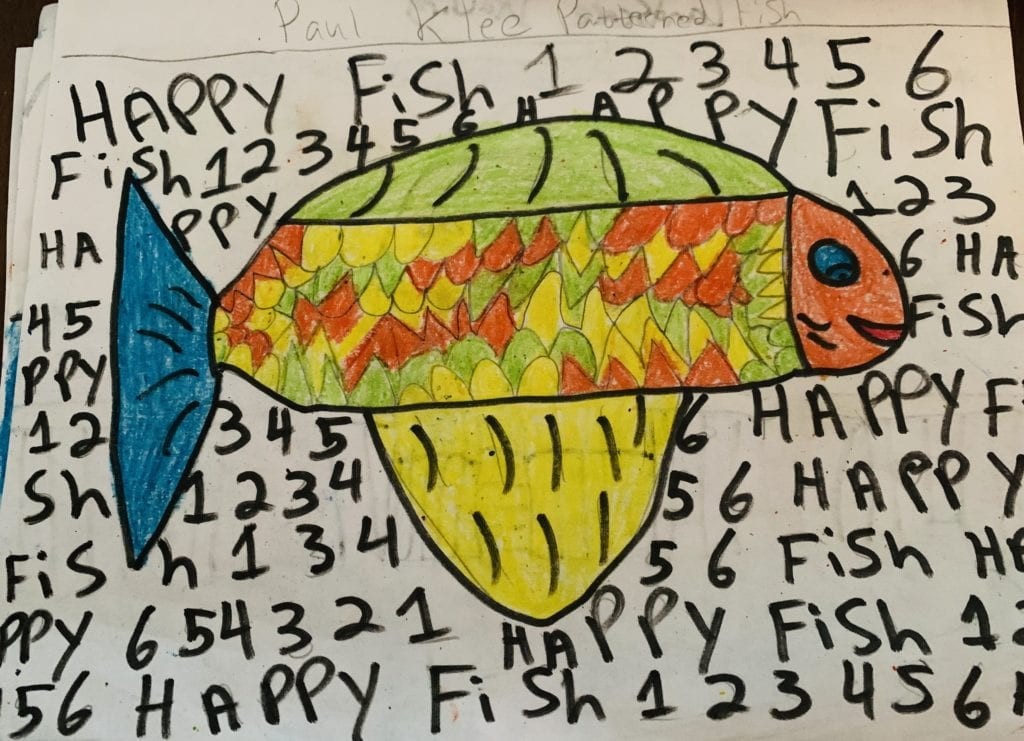drawing of a fish with patterns in its belly and numbers and letters in the background