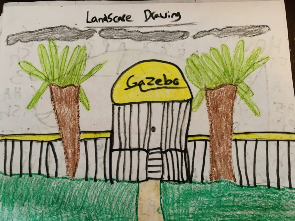 drawing of a gazebo with trees on each side and green grass