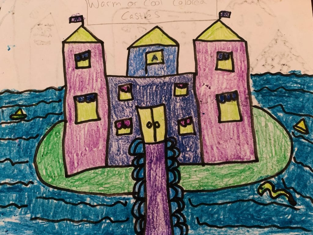 drawing of a castle surrounded by water and everything is colored in with cool colors