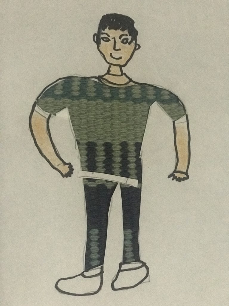 drawing of a person with short black hair and a green shirt